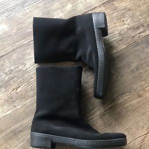 Clark's Black Suede Boots with Sherpa lining 8.5